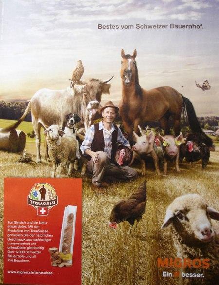 Realitätsfremde Bauernhof-Idylle im Retro-Look. Da fehlt doch die Bäuerin!