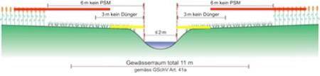 Vorschlag der Arbeitsgruppe verglichen mit der bisherigen Lösung für einen Bach mit Gerinnesohle von 2 m und einer Böschung mit 50% Steigung.