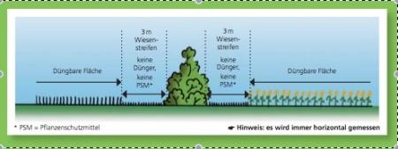 Schema eines korrekten Pufferstreifens zwischen Hecke und Acker. Quelle: Agridea-Merkblatt Pufferstreifen richtig bemessen und bewirtschaften.