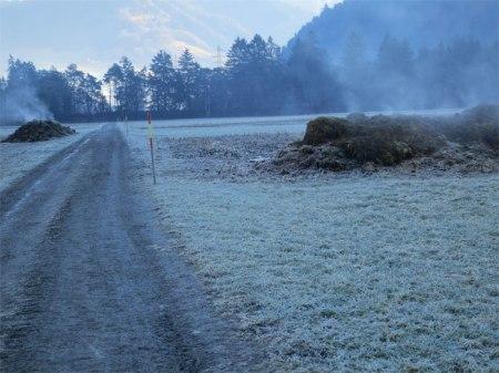 """Zwei Bündner Dampf-Misthaufen auf abgeernteten Maisfeldern am 12.1.14 fotografier; der """"Grundstock"""" liegt schon etwas länger hier. Weitere Fotos siehe neue Diaschau Misthaufen im Feld 2014."""