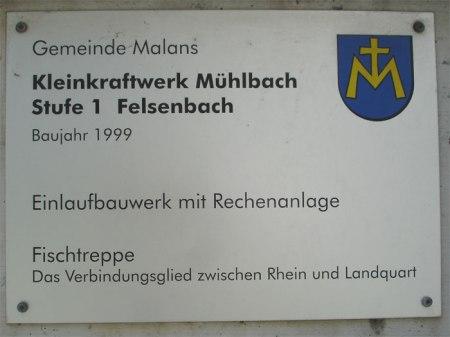 """Die Fischtreppe beim Kleinkraftwerk Mühlbach wurde zwar gebaut """"als Verbindungsglied zwischen Rhein und Landquart"""" ..."""
