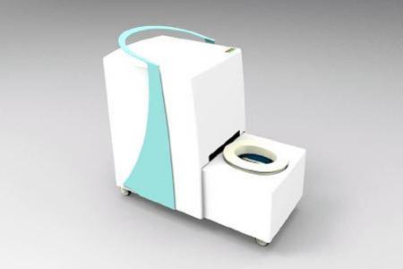 Mobile wasserlose Spitaltoilette CLOSAC. Ein erstes Funktionsmuster der wasserlosen Toilette wurde im Spital Solothurn erfolgreich getestet.