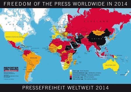 """Pressefreiheit weltweit 2014, Reporter ohne Grenzen. Mit welchen Ländern will die Schweiz Handel betreiben bzw. am WEF Gespräche führen? Denkanstoss an den Bundesrat, der fast völlständig in Davos sein wird. Nur Ueli Maurer """"vielleicht"""" nicht."""
