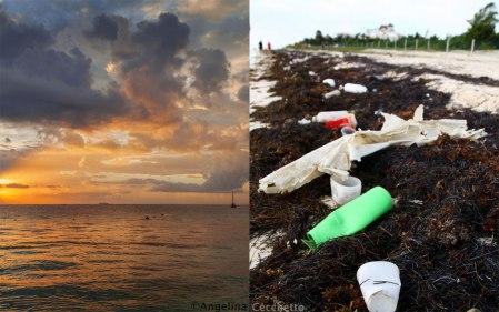 Ein Morgenspaziergang an einem kleinen Fischerstrand der Mayan Riviera in Mexiko. Am ersten Tag ihres Besuchs bei Freunden fotografierte Angelina Cecchetto den Sonnenaufgang. Auf dem Rückweg entdeckte sie den Müll am Strand, von irgendwo angeschwemmter Abfall. Die Foto-Collage zeigt den gleichen Strand: Links Blick zum Meer, rechts der Strand. Welch ein Kontrast! © Angelina Cecchetto Photography. Danke Angie! Riviera Maya: http://de.wikipedia.org/wiki/Riviera_Maya