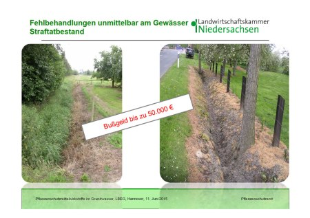 In der Schweiz sind die Bussen für Widerhandlungen gegen die Gewässerschutzgesetzgebung klein, nicht so in Niedersachsen. Copyright Dr. Stefan Lamprecht, Landwirtschaftskammer Niedersachsen. Vollständiger Vortrag siehe: http://www.lbeg.niedersachsen.de/aktuelles/veranstaltungen/tagung-spurenstoffe-in-boden-und-grundwasser-130492.html