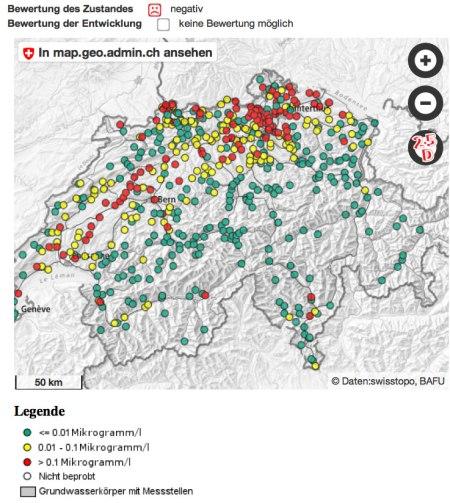 Kernindikator Pflanzenschutzmittel im Grundwasser, Stand 26.1.16, Quelle: http://www.bafu.admin.ch/umwelt/indikatoren/08605/08685/index.html?lang=de