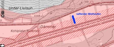 """Gewässerschutzkarte Amt für Umwelt Graubünden, """"Landquart, Ganda  (Postautohaltestelle)"""" in Suchmaske eingeben.  http://map.geo.gr.ch/gr_webmaps/wsgi/theme/Gewaesserschutzkarte"""