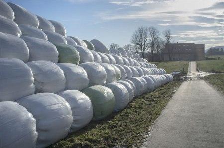 Die Silofolie besteht aus hochwertigem Polyethylen. Da sie sortenrein und in grossen Mengen gesammelt werden kann, eignen sich die Silofolie und andere Landwirtschaftsfolien sehr gut für die stoffliche Verwertung, also für das Recycling. © Walter G.