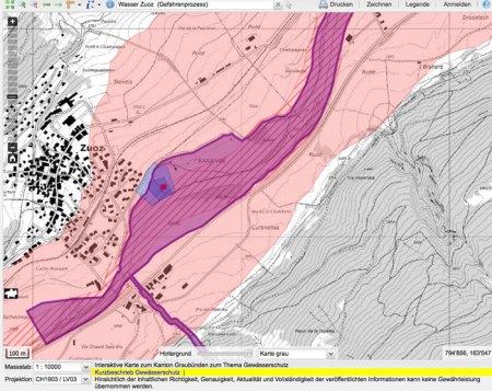 Zuoz Wasser (Gefahrenprozess): Der Mist-Container liegt im violetten Bereich! Gewässerschutzkarte GR.