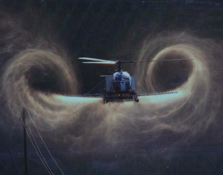 Titelbild der Vollzugshilfe für das Ausbringen aus der Luft von Pflanzenschutzmitteln, Biozidprodukten und Düngern, Copyright Samuel Sommer, Oberbipp