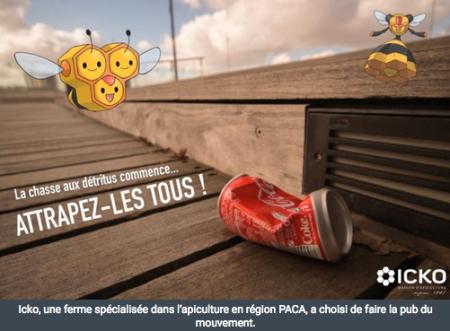 """Das Schweizer Spiel Pokédéchets GO hat rasch viele AnhängerInnen in der französischsprachigen Schweiz und im Ausland gefunden. ICKO, eine Firma für Bedarfsartikel Bienenhaltung in der Region Provence-Alpes-Côte d'Azur macht Werbung für die Bewegung. Copyright: <a href=""""http://www.croixdunord.com/pokedechets-go-kezako_9278/"""" target=""""_blank"""">Croix du nord</a>."""
