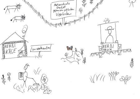 Cartoonist Vecker zum Herbizideinsatz auf Alpen. Copyright Vecker.