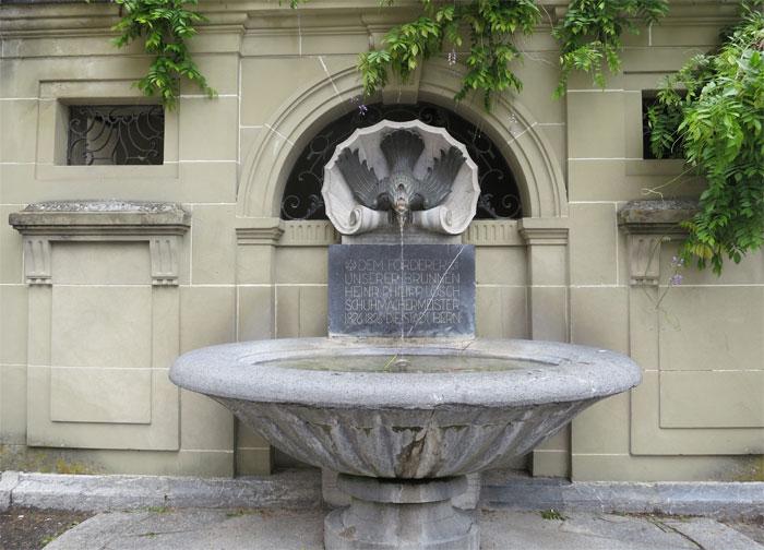 Die öffentlichen Brunnen in Bern dienten ursprünglich der Wasserversorgung und der Brandbekämpfung der Stadt. Später gewann der Aspekt der Repräsentation an Bedeutung, wovon die zahlreichen prächtigen Altstadtbrunnen zeugen. Im 19. Jahrhundert dann wurden sie zum Verkehrshindernis, versetzt, vernachlässigt ... Der Schuhmachermeister Heinrich Philipp Lösch (1826-1896) hinterliess der Stadt Bern sein Vermögen für den Unterhalt der Brunnen. (Wikipedia) Diesen Brunnen hat die Stadt Bern Lösch gewidmet. Wir alle können dazu beitragen, dass sauberes Wasser aus der Brunnenröhre fliesst!