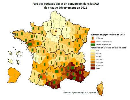 Anteil der Bio- und Bio-Umstellungs-Flächen an der landwirtschaftlichen Nutzfläche nach Departementen. Copyright: Agence Bio.