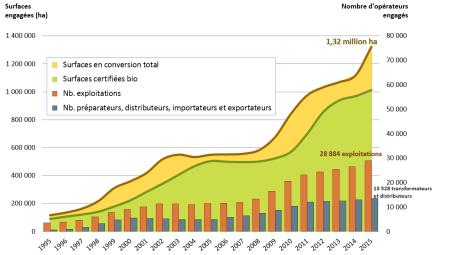 Entwicklung der Zahl der Bio-Produzenten und -Anbauflächen von 1995 bis 2015 in Frankreich. Copyright: Agence Bio.