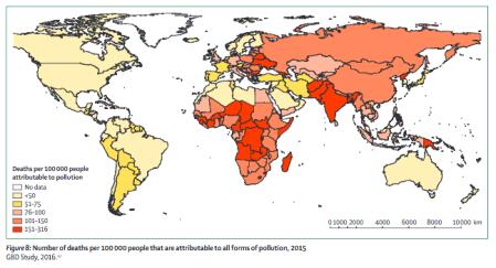 Durch Umweltverschmutzung verursachte Todesfälle pro 100'000 Einwohner.