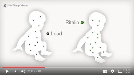 Das Bild zeigt zwei Aussagen: Das Medikament Ritalin wirkt in der symbolisch aufgezeigten geringen Konzentration. Umweltgifte (hier Blei) sollen aber in genau gleich kleinen Konzentrationen nicht wirken, behaupten Hersteller und die sie unterstützenden Behörden. Quelle Bruce P. Lanphear.