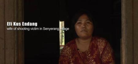 Frau eines Mannes, der in Senyerang erschossen wurde. Copyright: Greenpeace Indonesia.