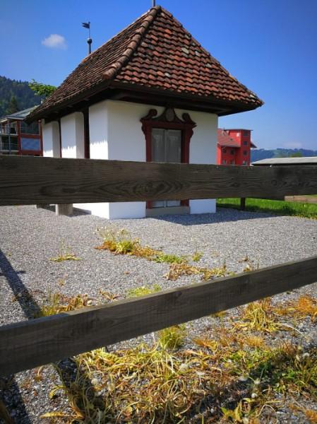 Verbotenes Spritzen von Herbizid auf Kiesplatz vor einer Kapelle am Pilgerweg, Kanton Schwyz. Copyright Barbara F.