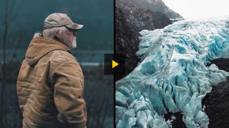 Beobachten Sie das Abschmelzen eines Gletschers! In Seward, Alaska, schmilzt der Exit Glacier mit hoher Geschwindigkeit. Der lokale Reiseführer Rick Brown erklärt das Geschehen. Copyright: Raphael Rogers, Paul Rennick.