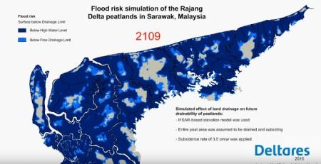 Simulation des Überschwemmungsrisikos von Torfböden im Rajang Delta, Sarawak, Malaysia . Copyright Deltares.