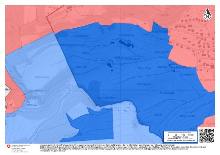 Grundwasserschutzzonen: dunkelblau = S2, hellblau = S3