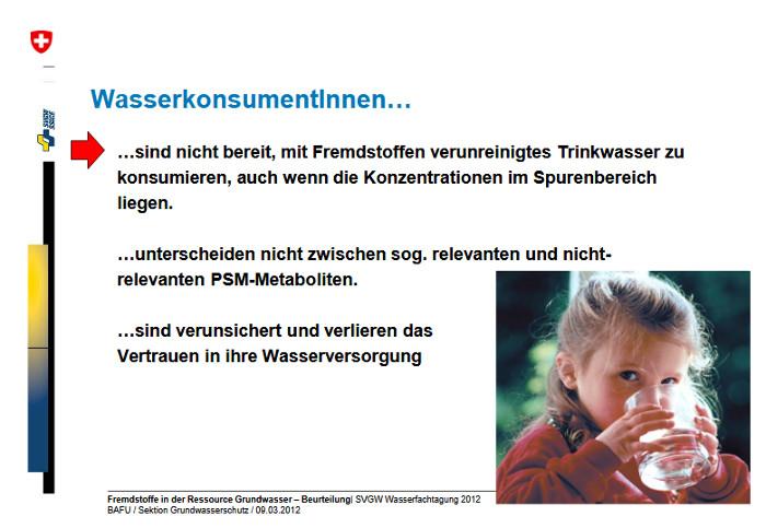 Folie von Daniel Hartmann, Sybille Kilchmann BAFU, Sektion Grundwasserschutz. Umgang mit nicht geregelten Fremdstoffen im Trinkwasser SVGW Wasserfachtagung, Olten, 9. März 2012