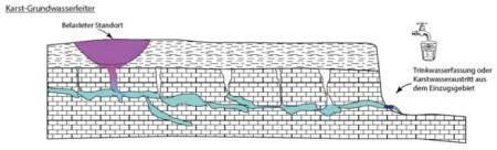 Der Untergrund von Karstgebieten ist mehr oder weniger stark zerklüftet. Das Niederschlagswasser fliesst je nach Situation sehr schnell in die Tiefe bzw. ins Grundwasser, in die Quellen oder Bäche. Quelle: R. Tiez, BAFU