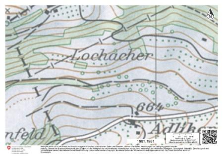 Kartenausschnitt 1981: Es war einmal eine Wiese in Wisen SO an der Grenze zwischen den Kantonen Solothurn und Baselland.