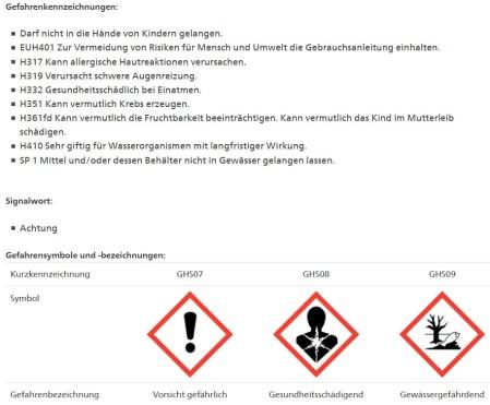 Das Fungizid Amarel-Folpet DF mit diesen Gefahrenkennzeichnungen darf gemäss Bundesamt für Landwirtschaft aus der Luft über Rebberge verspüht werden. Stand Pflanzenschutzmittelverzeichnis 2.2.20.