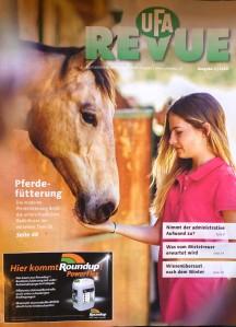 Titelbild der neuesten UFA-Revue mit Werbung für Glyphosat. Foto: Werner K.