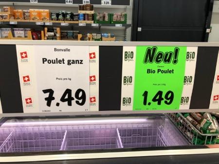 Poulet-Preis Grossverteiler Schweiz.