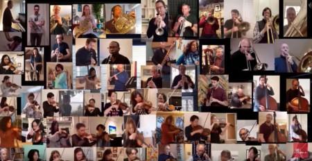 Die MusikerInnen der New York Philharmonic spielen allein bei sich zuhause und doch ergibt sich ein schönes Ganzes. Die Konzerte haben sie schon vor Wochen abgesagt. Copyright: New York Philharmonic.