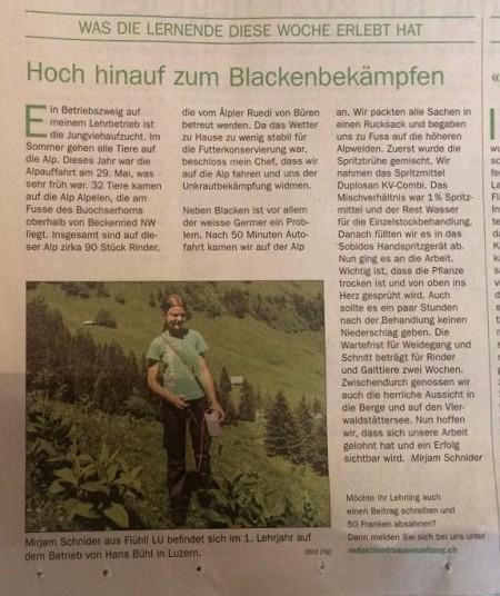 """In der Rubrik """"Was die Lernende diese Woche erlebt hat"""" schildert Mirjam Schnider in der Bauernzeitung vom 19.6.20 wie sie auf einer Alp Blacken und Germer mit Duplosan KV-Combi bekämpft hat. Walter K. hat Heidi diesen Artikel zugestellt."""