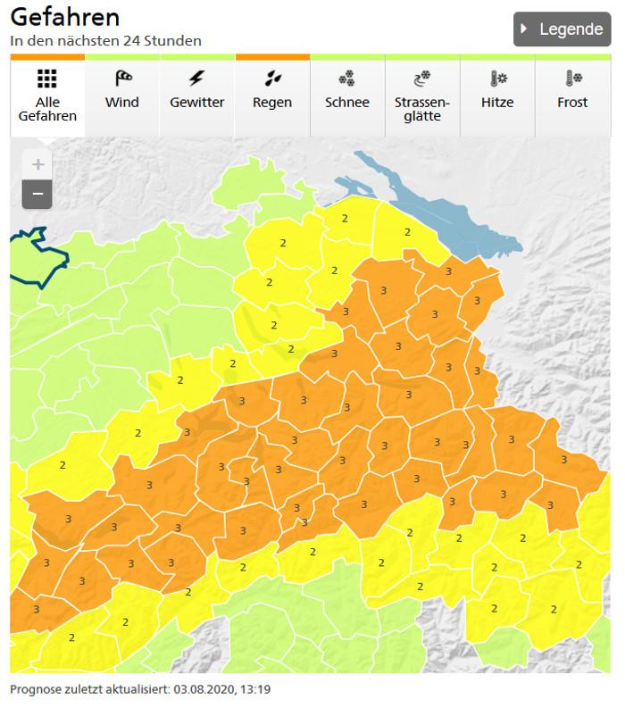 MeteoSchweiz warnt am 3.8.20 vor hohen Niederschlägen.