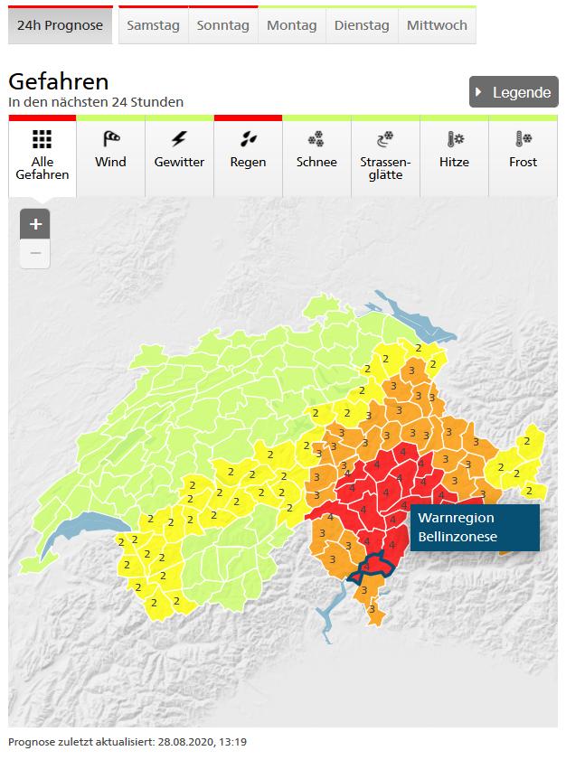 Regenwarnung MeteoSchweiz Stufe 3 am Tatort!