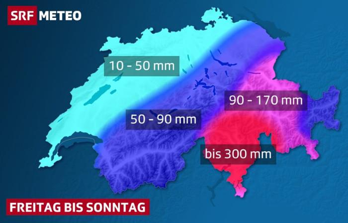 SRF Meteo: Ab heute im Tessin und in Teilen Graubündens Hochwassergefahr. In Mittel- und Nordbünden, im Oberengadin, im Glarner- und Sarganserland muss ebenfalls mit 90 bis lokal 150 mm Niederschlag gerechnet werden.