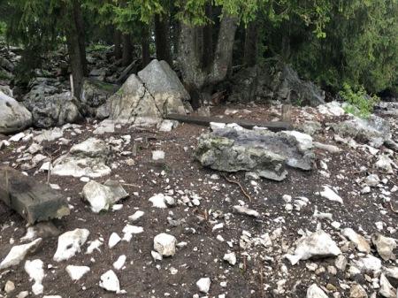 Der frühere grosszügige Grillplatz, den die Familie Muggli so gerne hatte; er wurde von den Alpschweinen zerstört. Copyright: Vater Muggli