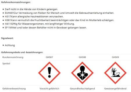 Gefahrenkennzeichnung von Movento SC gemäss Pflanzenschutzmittelverzeichnis des Bundesamts für Landwirtschaft, Stand 15.11.20.