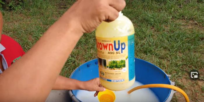 Ohne Handschuhe wird BrownUp (Glyphosat) dosiert und in einen Eimer geschüttet.