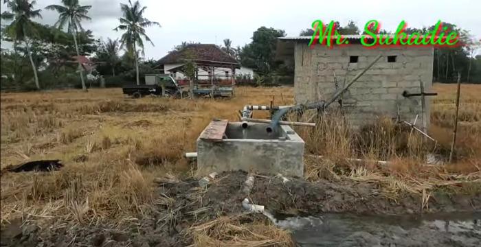 Einrichtung zum Sammeln von Wasser aus dem Reisfeld.