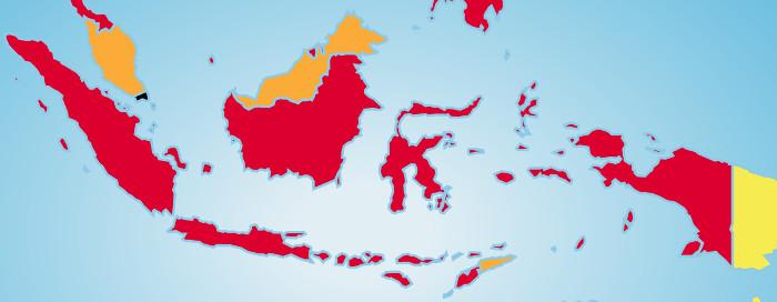 """Auf der Karte von Reporter ohne Grenzen ist Indonesien Rot eingefärbt, was bedeutet """"schwierige Lage""""."""