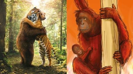 Heidi meint: Wenn Tiger und Bär sich umarmen, dann stimmt etwas nicht ... oder?