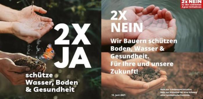 Links ein Plakat der UnterstützerInnen der beiden Pestizidinitiativen, rechts das Plagiat der Bauern und Bäuerinnen.