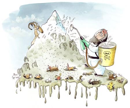 © Max Spring. Aus «Trittst im Alpengift daher» https://www.pestizidmythen.ch/#alpengift