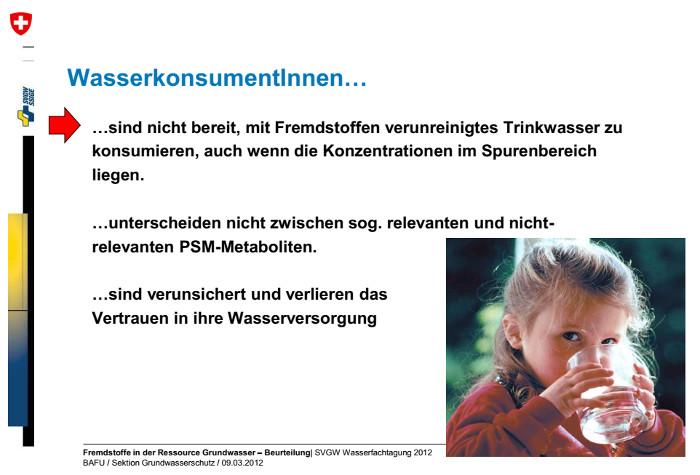 Folie, die Daniel Hartmann, letzter oberster Grundwasserschützer der Schweiz, an der Wasserfachtagung vom 9.3.12 gezeigt hatte. Anlässlich seiner Pensionierung wurde die Sektion Grundwasserschutz des Bundesamts für Umwelt (BAFU), die er leitete, aufgelöst.