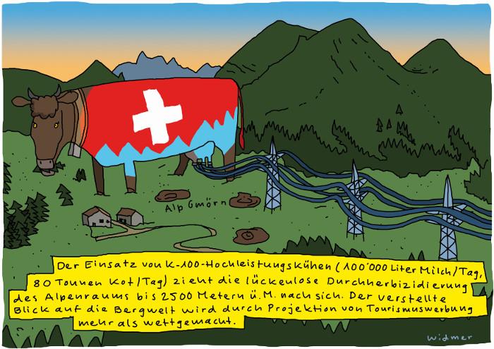 Dieser Cartoon darf gratis weiterverbreitet werden mit folgendem Copyright-Hinweis: © Ruedi Widmer. Aus «Trittst im Alpengift daher» https://www.pestizidmythen.ch/#alpengift