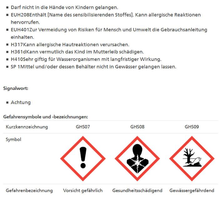 Mancozeb: Auszug aus dem Pflanzenschutzmittelverzeichnis des Bundesamts für Landwirtschaft.