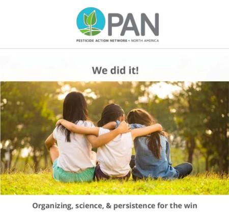 Medieninformation Pesticide Action Network Noth America vom 18.8.21 über das Verbot von Chlorpyrifos durch die EPA.