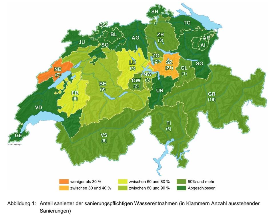 Bericht BAFU: Restwassersanierung nach Art. 80 ff. GSchG: Stand Ende 2020 und Entwicklung seit Ende 2018